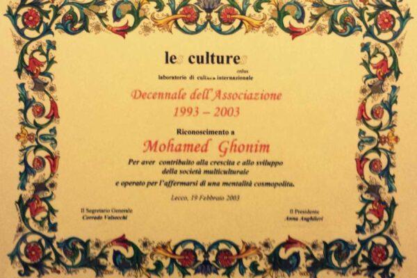 """Riconoscimento """"Les Cultures"""""""